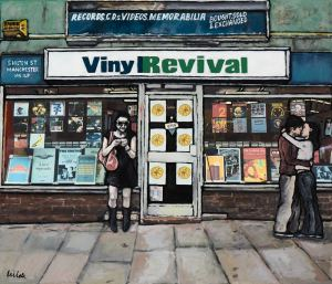 Painting of Vinyl Revival record shop in Manchester's northern quarter by local artist Matt Wilde. Fine art print on archival paper.