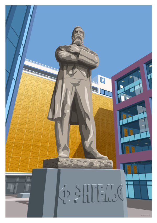 Print of the Friedrich Engels Statue in Manchester by local designer and illustrator Stephen Millership.