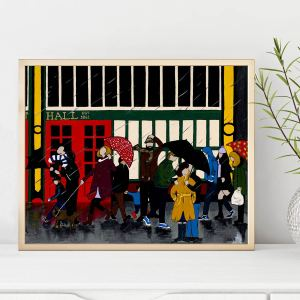 Print of Manchester market by local artist Lucy Burgess