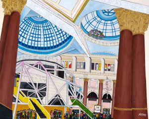 Art print of the Royal Exchange theatre in Manchester focusing on the beautiful ceilings, windows, and performance stage.