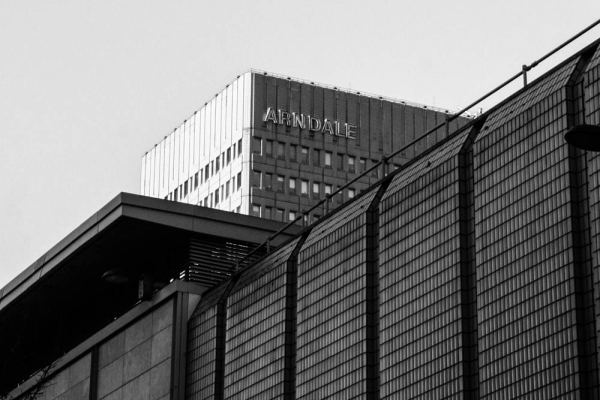 Black and white photography print of Manchester's Arndale shopping centre's roof tops by local photographer Emily Marshall