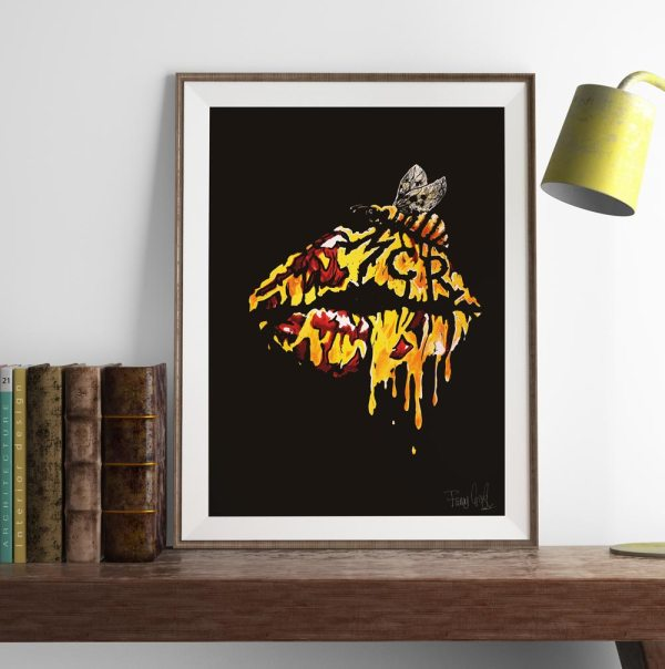 Art print of lips covered in honey