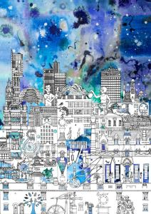Manchester skyline art print by local artist Meha Hindocha, featuring the city's most iconic buildings. Colourful and detailed
