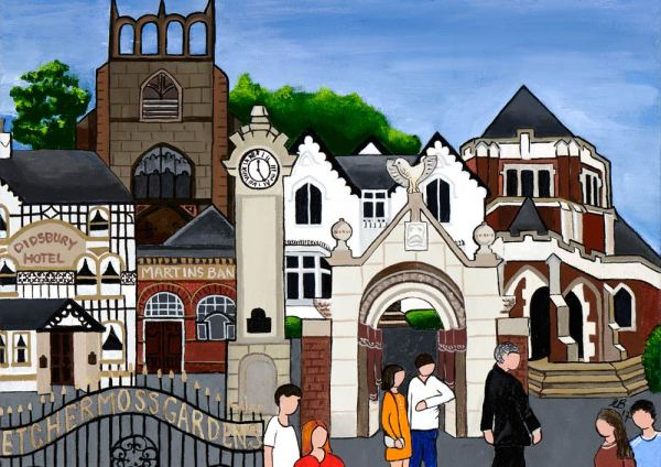 Fine art print of Manchester's Didsbury village by local artist Lucy Burgess