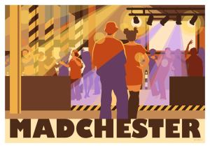 Manchester club vintage, retro style night life illustration of Madchester by local artist Stephen Millership