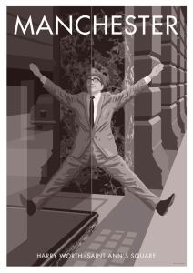 Vintage style Manchester print of comedian Harry Worth in St Anne's Square, wall art by Stephen Millership