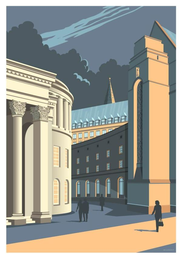 Manchester central library art print by Stephen Millership