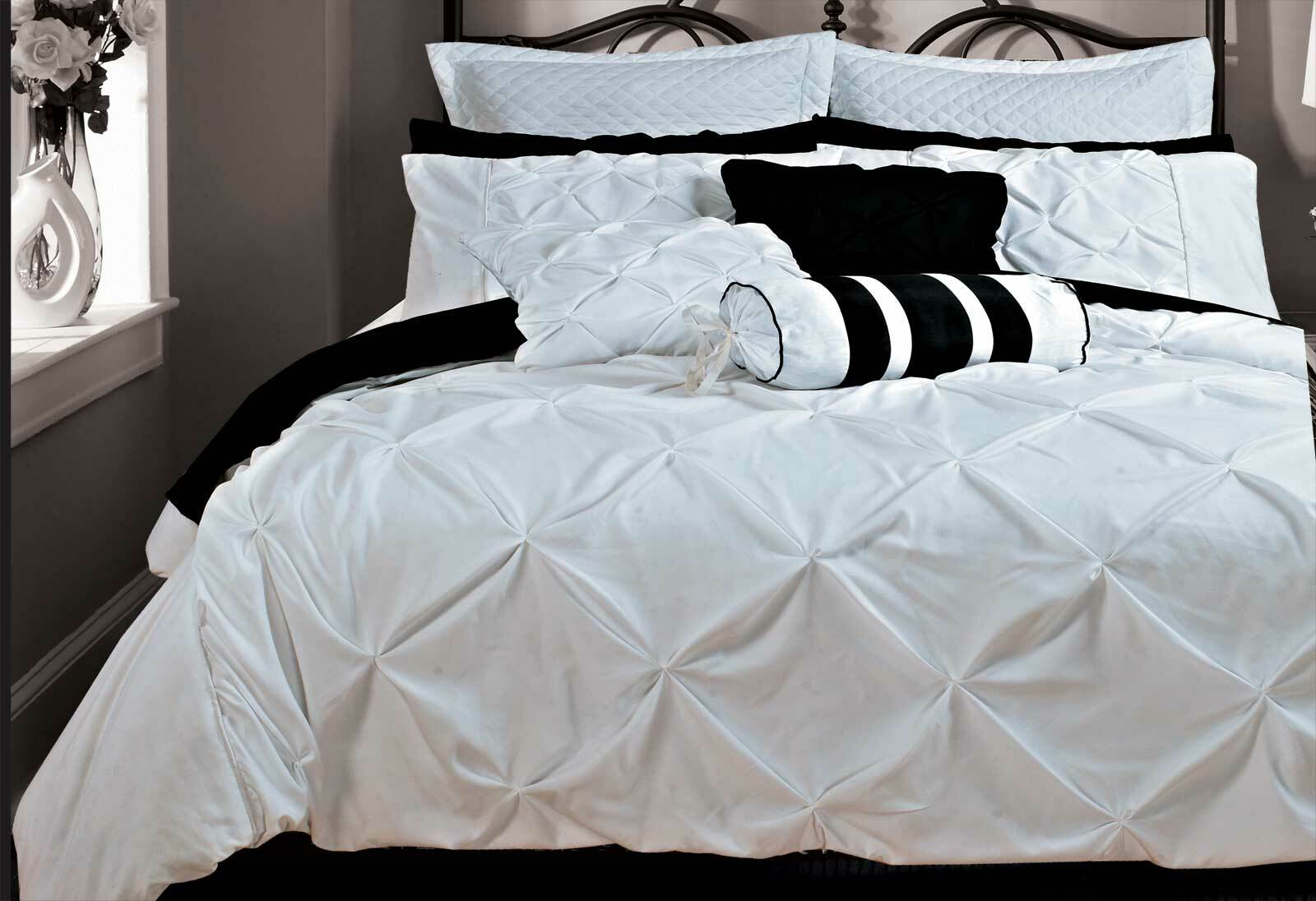 Fantine White Quilt Cover Set Queen  King  Super King  Manchester Direct Warehouse