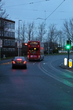 Left turning lane and tram lines