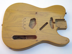 Front of the butterscotch Telecaster body