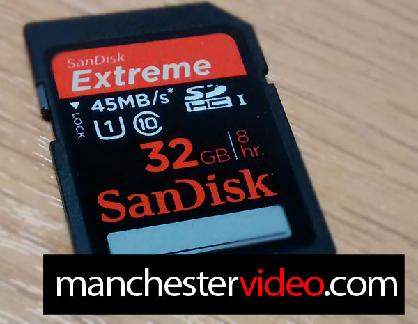 Shows a Sandisk SDHC Card