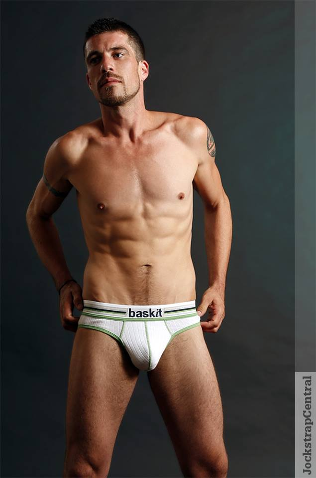 Jockstrap Central Model Jack in Baskit Ribbed Jockbrief - White