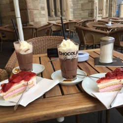 "Hot chocolate at chocolate museum in Cologne during escorted motorhome tour ""Majestic Rhine & Moselle Rivers"""