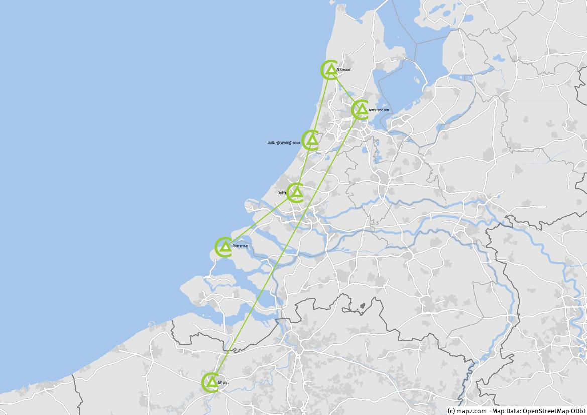 Tour Map Springtime in Holland 2021
