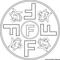 Buchstabe F - Mandala Bild fr Kinder zum Ausdrucken