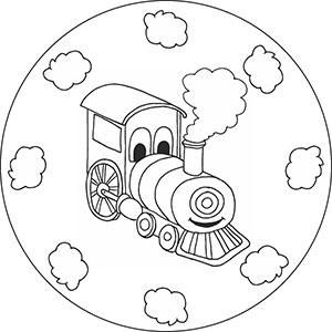 Kinder Mandalas - Eisenbahnen Loks Zügen und Lokomotive