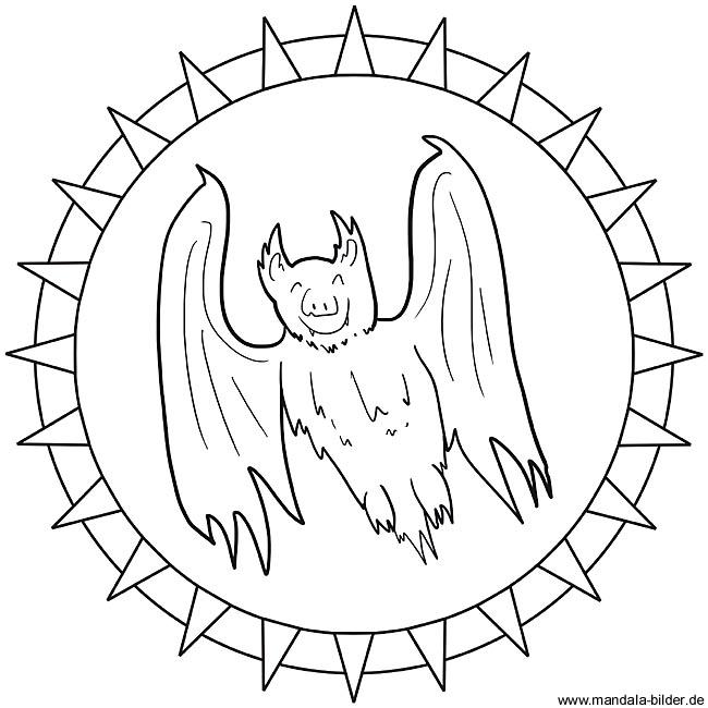Fledermaus oder Vampir als Mandala Ausmalbild zum Ausdrucken