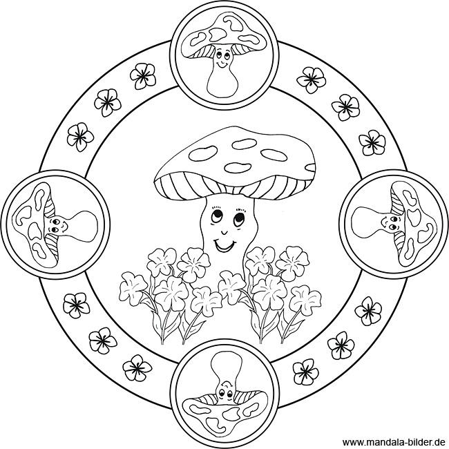 Pilze - Mandala Ausmalbild zum Ausdrucken und Ausmalen