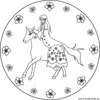 Prinzessin und ihr Pferd   kostenloses Mandala für Kinder