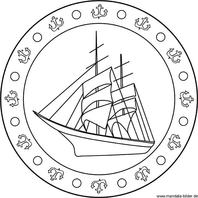 Seegelschiff Mandala Ausmalbild Fr Kinder Zum Ausdrucken