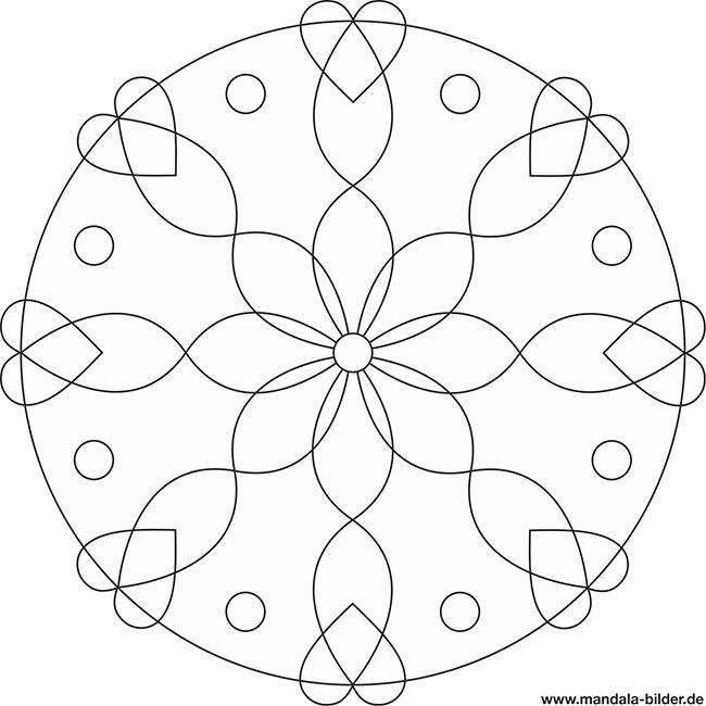 Mandala Malvorlage Senioren - Ranken und Herzen