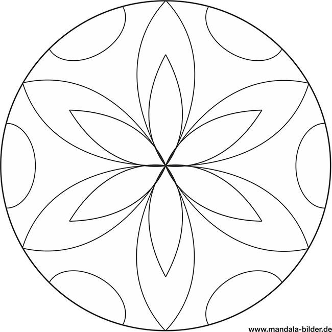 Mandala für Senioren - einfaches Motiv zum Ausmalen