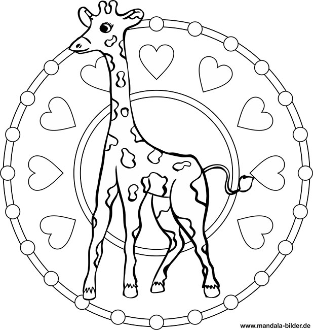 Mandala Giraffe - Kinder Malvorlage zum Ausmalen