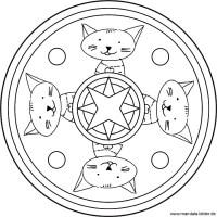Mandala Katze   Vorlagen als Ausmalbilder für Kinder