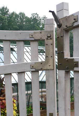 Blacksmith  Custom Designed Garden Gate Hardware  Hand Forged Steel and Bronze