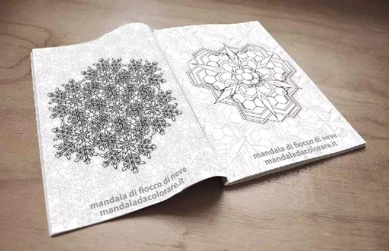 libro da colorare mandala dei fiocchi di neve