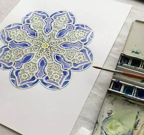 mandala da colorare difficile acquarello
