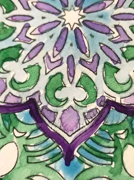esempio di mandala colorato ad acquarello per arianna