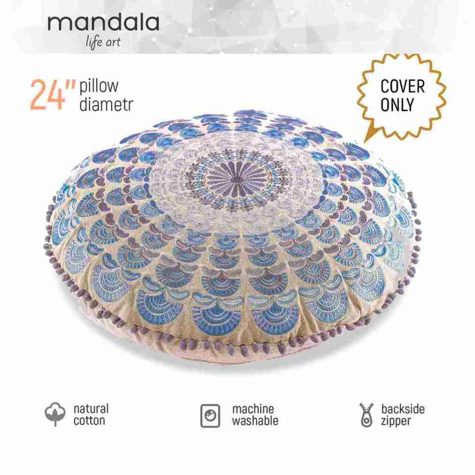 Bohemian Floor Pillow Blue 3