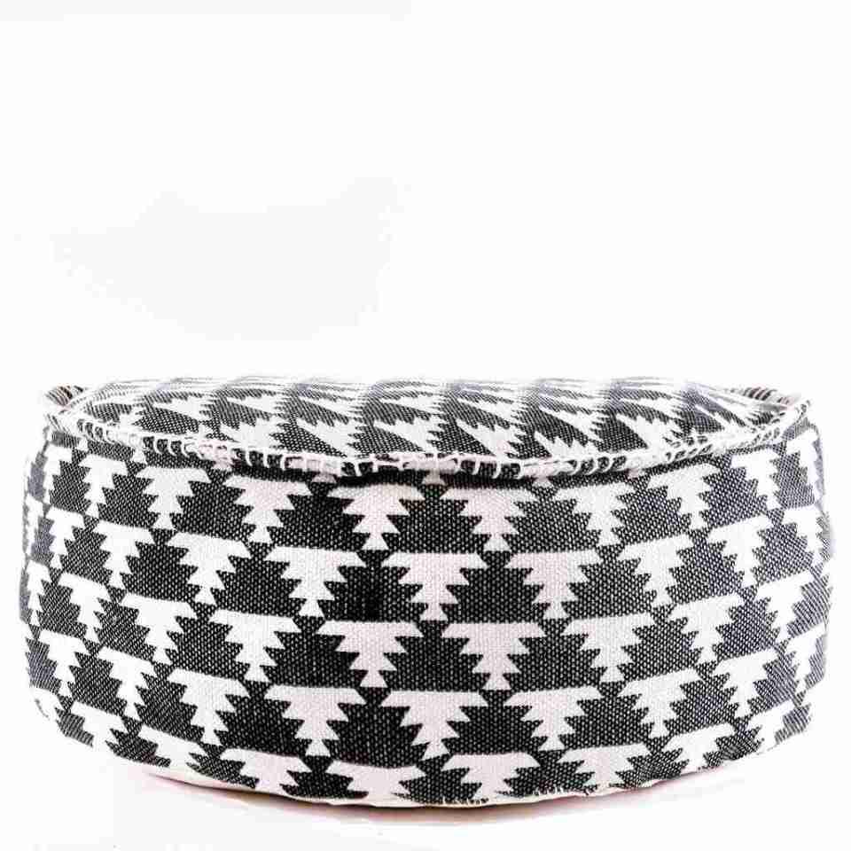 Tribal Bohemian Decor Floor Cushion Pouf pattern black gold white 6