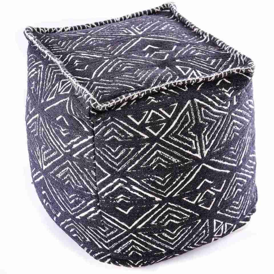 Tribal Pouf Ottoman Cube Floor Cushion Decor Black and White 15