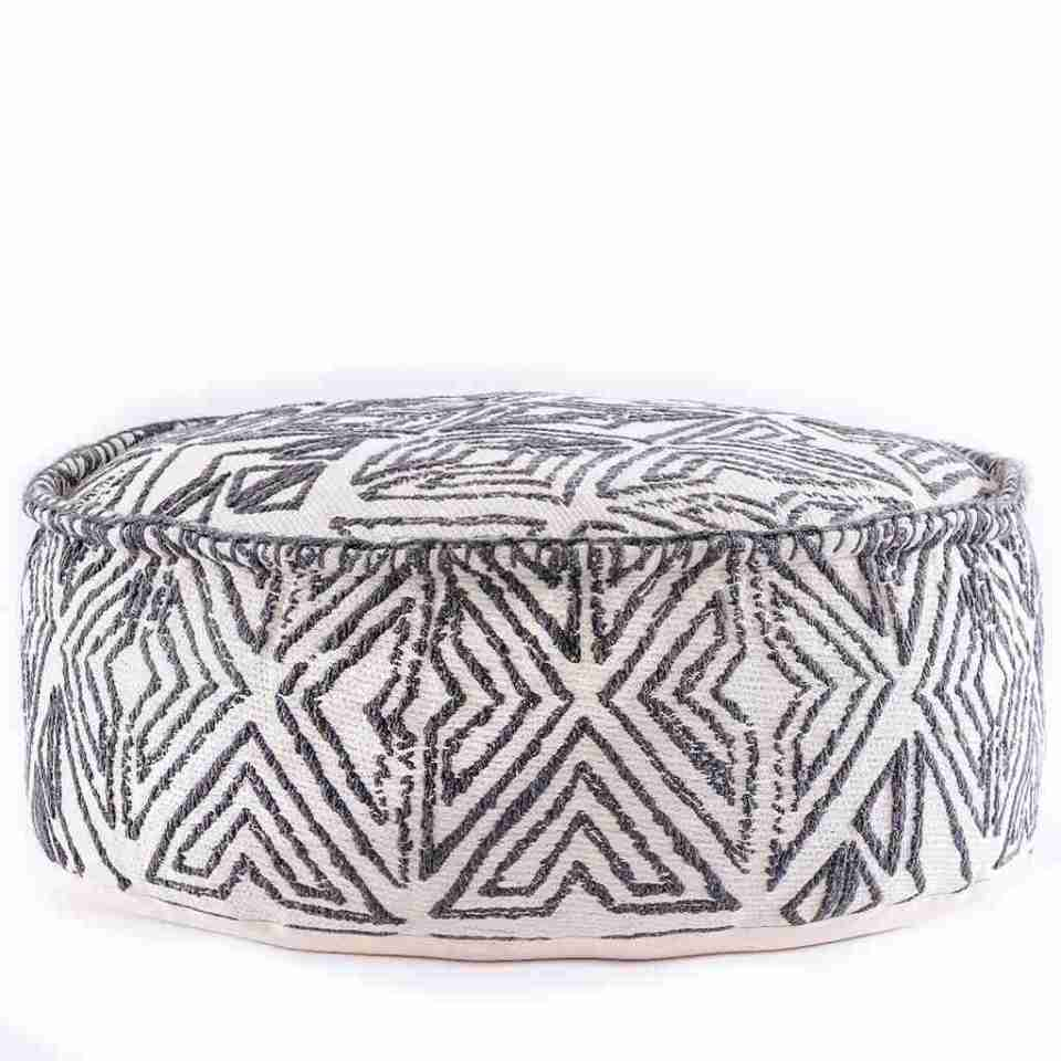 Tribal Pouf Ottoman Cube Floor Cushion Decor Black and White 19