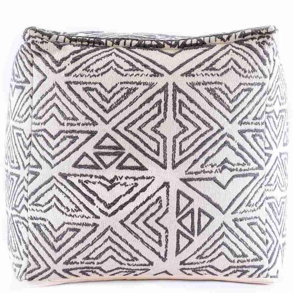 Tribal Pouf Ottoman Cube Floor Cushion Decor Black and White 5
