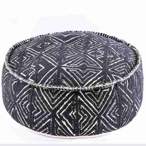 Tribal Pouf Ottoman Cube Floor Cushion Decor Black and White 8