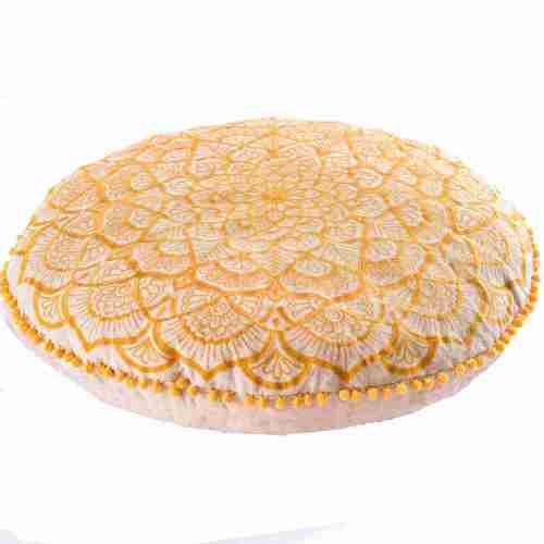mandala golden bohemian round pillow 3