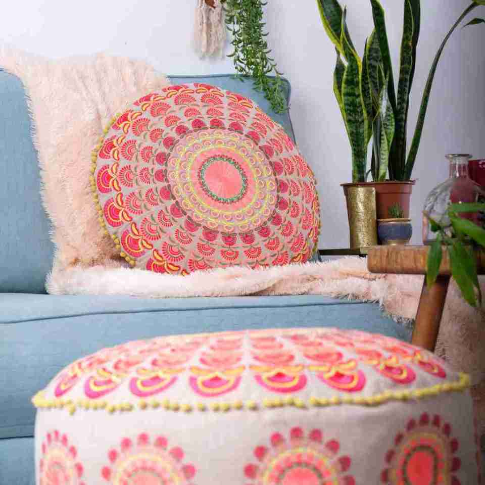 red round bohemian floor cushion 2