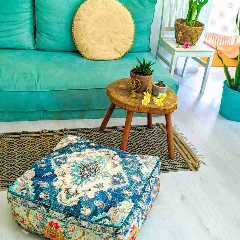 Bohemian Decor Floor Cushion Pouf Carpet Floor Pillow Boho Chic Large Living Room Bedroom chidren room 1
