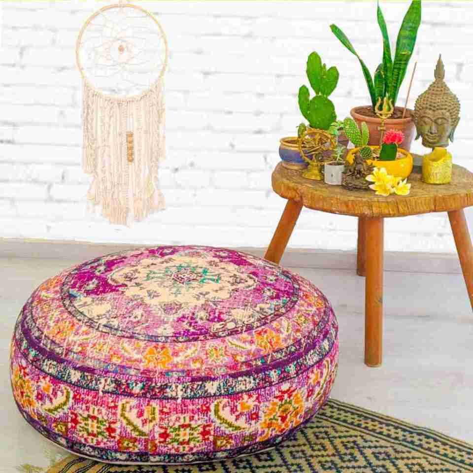Round Floor Cushion Rug Carpet Print 2