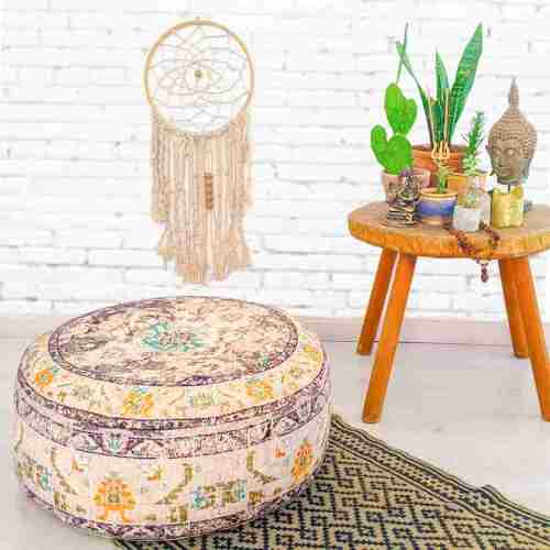 Vintage Pouf Floor Cushion Rug Carpet 1
