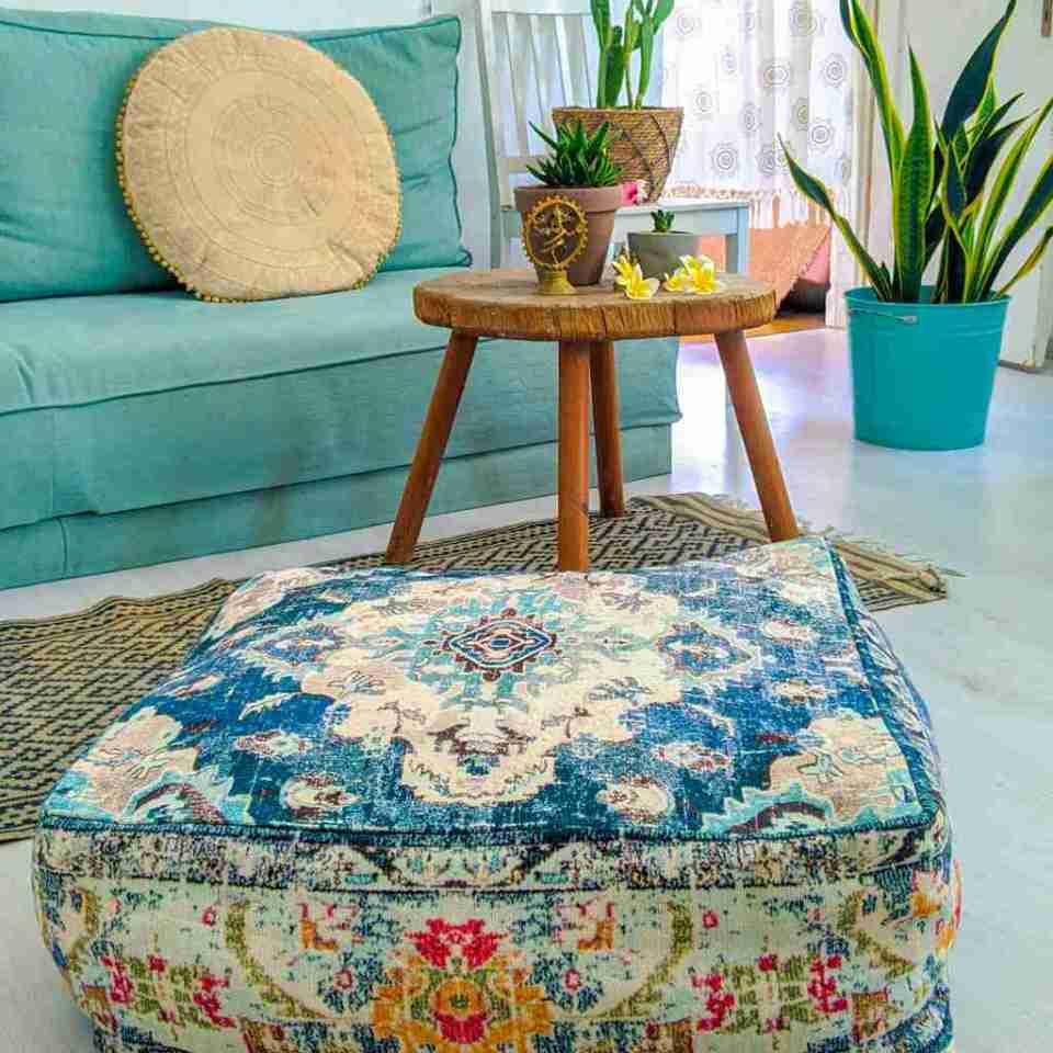 Vintage Pouf Floor Cushion Rug Carpet 16