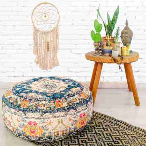 Vintage Pouf Floor Cushion Rug Carpet 17