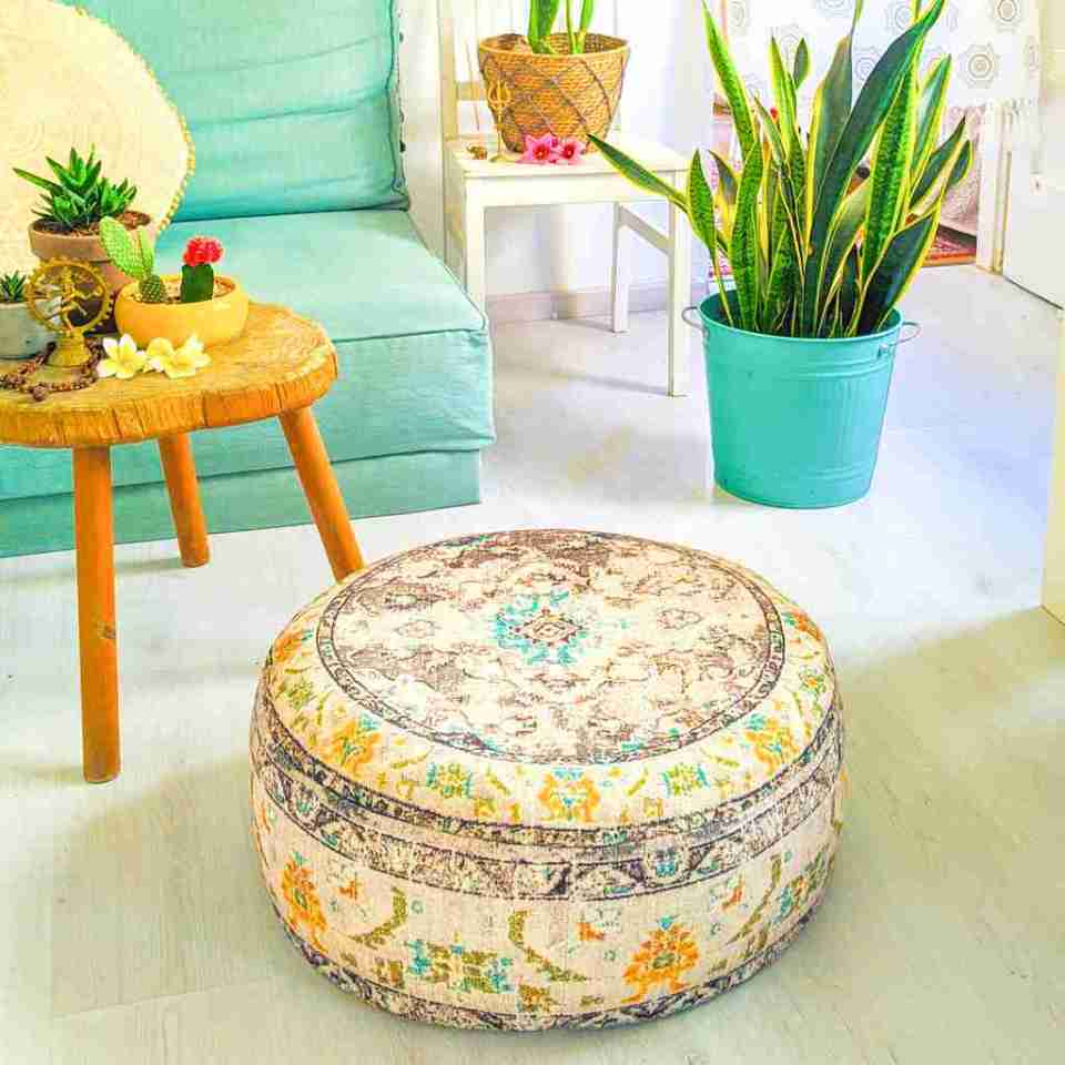 Vintage Pouf Floor Cushion Rug Carpet 2