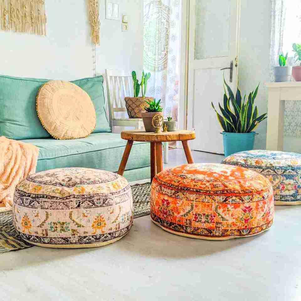 Vintage Pouf Floor Cushion Rug Carpet 4