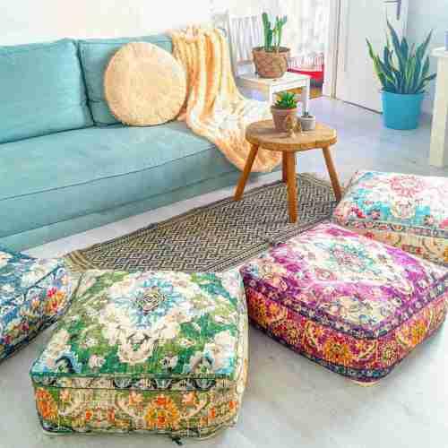 Vintage Pouf Floor Cushion Rug Carpet 6