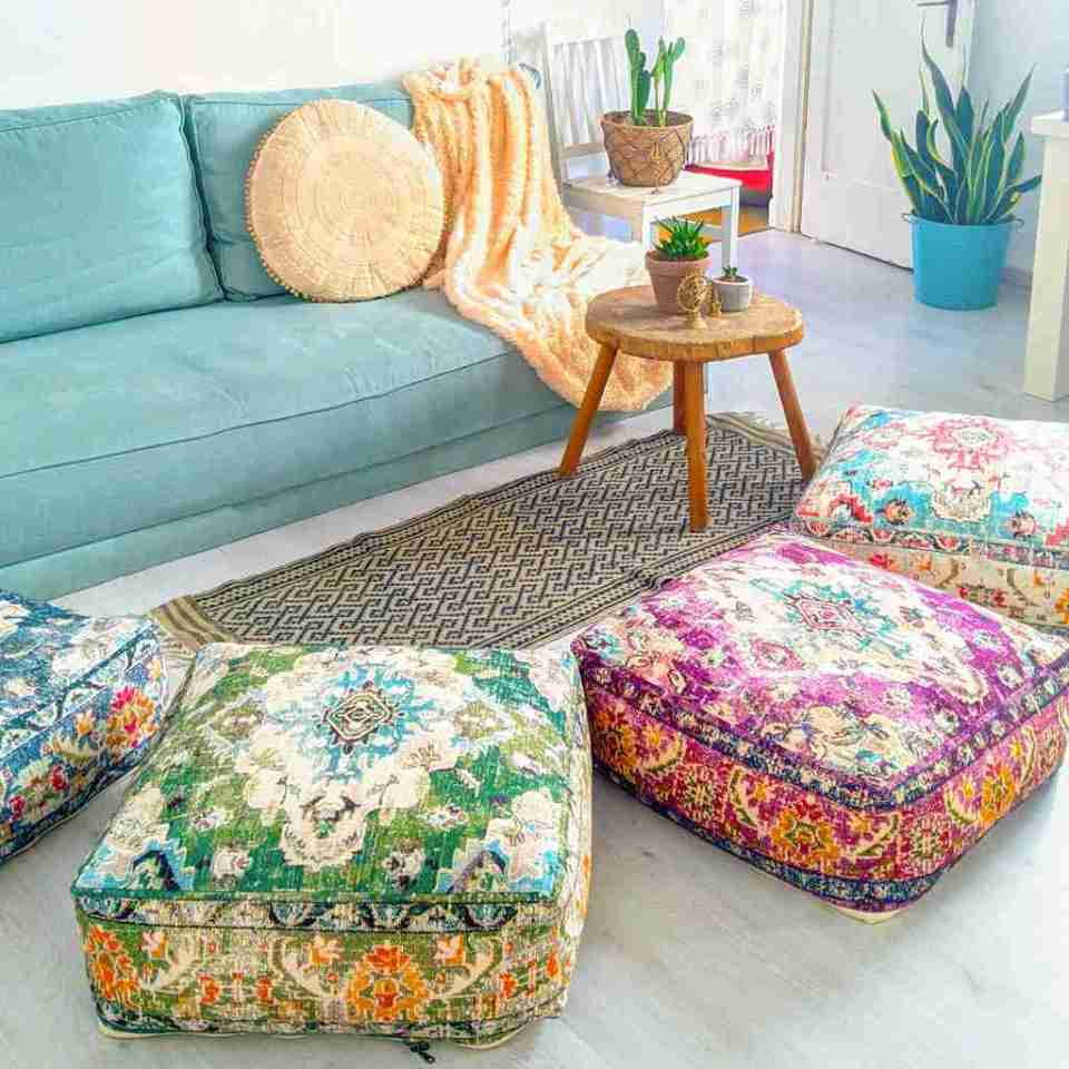 Vintage Pouf Floor Cushion Rug Carpet 6