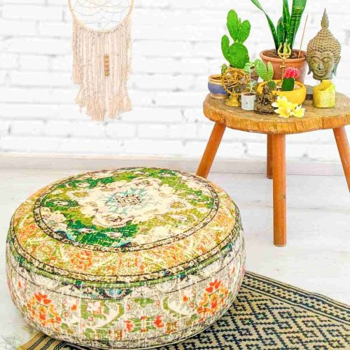 Vintage Pouf Floor Cushion Rug Carpet 9 e1593261109279